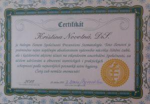Certifikát - Členství ve Společnosti Preventivní Stomatologie